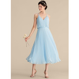 A-Line V-neck Tea-Length Chiffon Homecoming Dress With Pleated (022204160)