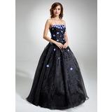 Платье для Балла Без лямок Длина до пола Органза Пышное платье с Бисер Цветы блестками (021020827)