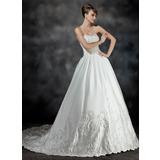 De baile Coração Cauda longa Cetim Vestido de noiva com Bordados Pregueado Bordado (002017191)