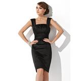 Платье-чехол квадратный вырез Длина до колен Атлас Коктейльные Платье с Рябь (016021138)
