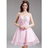 Vestidos princesa/ Formato A Coração Curto/Mini Organza de Vestido de boas vindas com Pregueado Bordado (022016300)