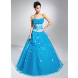 De baile Decote recortado Longos Organza de Vestido quinceanera com Bordado Apliques de Renda Lantejoulas Babados em cascata (021015118)