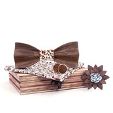 Classic Vintage Wood Bow Tie Cufflinks Pocket Square (200198607)