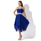 Vestidos princesa/ Formato A Coração Assimétrico De chiffon Vestido de boas vindas com Pregueado Bordado (022010996)