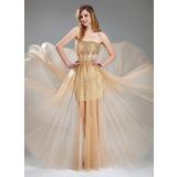 Corte A/Princesa Novio Hasta el suelo Tul Con lentejuelas Vestido de baile de promoción con Cuentas (018018902)