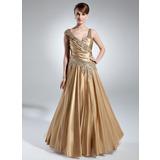 Vestidos princesa/ Formato A Decote V Longos Charmeuse Vestido para a mãe da noiva com Pregueado Bordado (008016031)