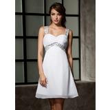 Império Amada Curto/Mini Tecido de seda Vestido de boas vindas com Pregueado Beading lantejoulas (022020867)