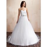 Платье для Балла В виде сердца Церковный шлейф Тюль Свадебные Платье с Рябь Бисер (002011706)