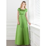 A-Line/Princess Square Neckline Floor-Length Satin Bridesmaid Dress With Bow(s) (007001490)