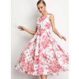 A-Line Scoop Neck Tea-Length Homecoming Dress (022209564)
