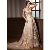 A-Lijn/Prinses Strapless Hof sleep Satijn Organza Bruidsjurk met Roes Kraalwerk Applicaties Kant (002012639)