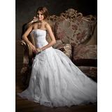 Vestidos princesa/ Formato A Coração Cauda de sereia Cetim Organza de Vestido de noiva com Pregueado Renda Bordado (002012207)