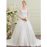 Ball-Gown V-neck Cathedral Train Satin Wedding Dress (002095826)