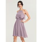 A-Line/Princess Square Neckline Knee-Length Chiffon Cocktail Dress (016170872)