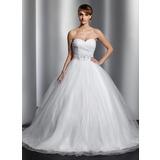 Платье для Балла В виде сердца Церковный шлейф Тюль Свадебные Платье с Рябь Бисер блестками (002014800)
