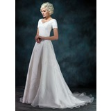 A-Line/Princess V-neck Court Train Satin Organza Wedding Dress With Beading Appliques Lace (002000393)
