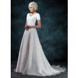 Трапеция/Принцесса V-образный Церемониальный шлейф Атлас Органза Свадебные Платье с Бисер аппликации кружева (002000393)