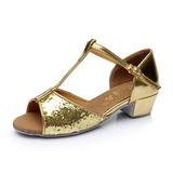 Детская обувь Мерцающая отделка На каблуках Сандалии Латино с Т-ремешок Обувь для танцев (053053092)