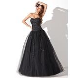 Платье для Балла В виде сердца Длина до пола Тюль Пышное платье с Бисер блестками (021004678)