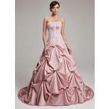 Платье для Балла Без лямок Церемониальный шлейф Атлас Пышное платье с Рябь кружева Цветы (021017541)
