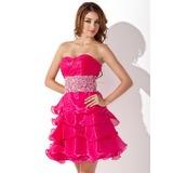 Vestidos princesa/ Formato A Coração Curto/Mini Organza de Vestido de boas vindas com Bordado Babados em cascata (022011138)