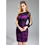 Sheath/Column One-Shoulder Knee-Length Charmeuse Lace Bridesmaid Dress (007019607)