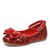 Jentas Lukket Tå Stoff flat Heel Flate sko Flower Girl Shoes med Bowknot Paljetter Velcro (207121299)