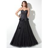 Vestidos princesa/ Formato A Coração Longos Tafetá Tule Vestido quinceanera com Pregueado Bordado fecho de correr (021017445)