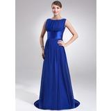 A-Line/Princess Scoop Neck Sweep Train Chiffon Evening Dress With Ruffle (017022545)
