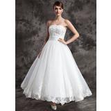 De baile Sem Alças Longuete Cetim Organza de Vestido de noiva com Renda Beading (002015003)