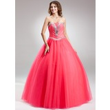 Ball-Gown Sweetheart Floor-Length Tulle Quinceanera Dress With Beading (021017118)