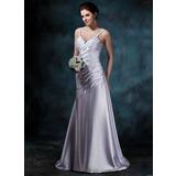 Трапеция/Принцесса V-образный Церемониальный шлейф Шармёз Свадебные Платье с Рябь (002011641)