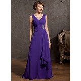 A-Line/Princess V-neck Floor-Length Chiffon Mother of the Bride Dress With Beading Cascading Ruffles (008014868)