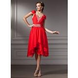 Vestidos princesa/ Formato A Decote V Assimétrico De chiffon Vestido de boas vindas com Pregueado Bordado (022010375)