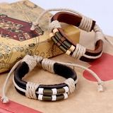 Stylish Alloy Leather Rope Unisex Fashion Bracelets (Sold in a single piece) (137197218)