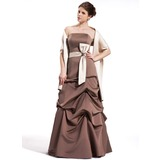 A-Line/Princess Strapless Floor-Length Satin Bridesmaid Dress With Ruffle Sash (007001019)