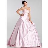 Платье для Балла В виде сердца Церемониальный шлейф Атлас Свадебные Платье с Вышито Рябь Бисер блестками (021005232)
