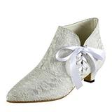 Frauen Spitze Niederiger Absatz Stiefel Geschlossene Zehe mit Zuschnüren (047185295)