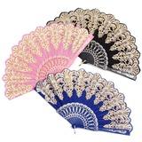 Design floral Plástico/Seda Ventilador de mão (Conjunto de 4) (051052607)
