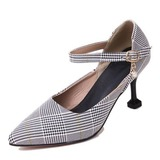 Women's Fabric Cone Heel Pumps Closed Toe With Buckle shoes (085178681)