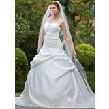 De baile Coração Comboios Catedral Cetim Vestido de noiva com Pregueado Bordado (002012181)