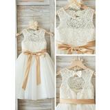 A-Linie/Princess-Linie U-Ausschnitt Knielang Tüll Kleid für junge Brautjungfern mit Schleifenbänder/Stoffgürtel Schleife(n) (009126263)