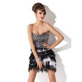 Vestidos princesa/ Formato A Coração Curto/Mini Charmeuse Lantejoulas Vestido de cocktail com Pena (016008486)