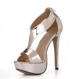 Couro Brilhante Salto agulha Sandálias Plataforma Peep toe com Zíper sapatos (087025071)