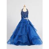 Vestidos princesa/ Formato A Longos Vestidos de Menina das Flores - Organza de Sem magas Cabresto com Pregueado/lantejoulas/Strass (010007648)