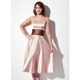 A-Line/Princess Strapless Tea-Length Charmeuse Bridesmaid Dress With Sash (007001915)