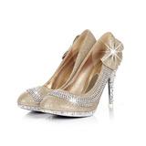 Женщины кожа Мерцающая отделка Высокий тонкий каблук На каблуках с горный хрусталь Мерцающая отделка обувь (085026580)