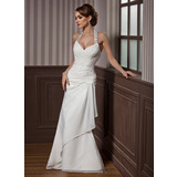 Sheath/Column Halter Floor-Length Chiffon Satin Wedding Dress With Ruffle Beading Appliques Lace Sequins (002012582)