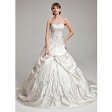 De baile Coração Comboios Catedral Cetim Vestido de noiva com Bordados Pregueado Bordado (002017562)
