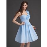 Vestidos princesa/ Formato A Um ombro Coquetel De chiffon Vestido de boas vindas com Pregueado fecho de correr (022010630)